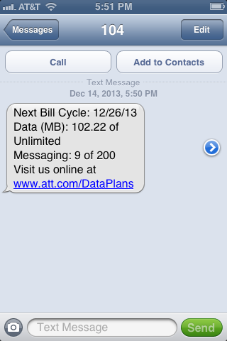 AT&T Data Text Message