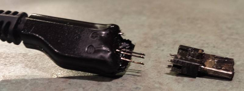 melted samsung charging cable