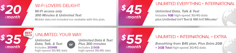 Virgin Mobile phone plans $20 month